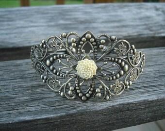 antique brass diamond filigree cuff bracelet