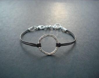 silver hoop bracelet - sterling silver plated