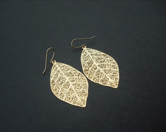 Bridesmaid earrings, matte yellow gold skeleton leaf earrings, wedding gift, bridesmaid gift