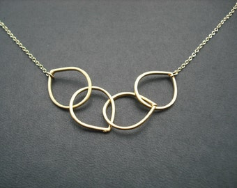 Quadruple Simple Line Teardrop necklace - 16K yellow gold plated chain