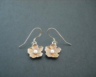 shimmery brown flower earrings - sterling silver ear wires