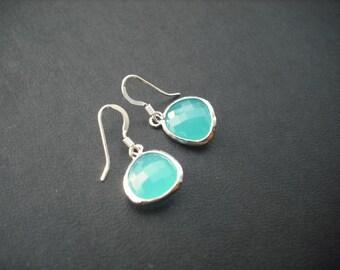 Bridesmaids Gift, Wedding Gift, Silver Earrings with Aqua Blue Bezel Briolette, Bridesmaid Earrings, Flower Girl Gift, Birthday Gift