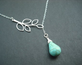 Bridesmaid Necklace, Silver Lariat Necklace, Five Leaf Branch and Turquoise Briolette Lariat