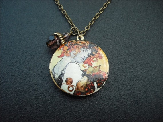 SALE - Fruit locket necklace - Alfonse Mucha - new opaque style