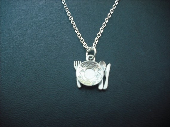 dinner set necklace - white gold plated chain