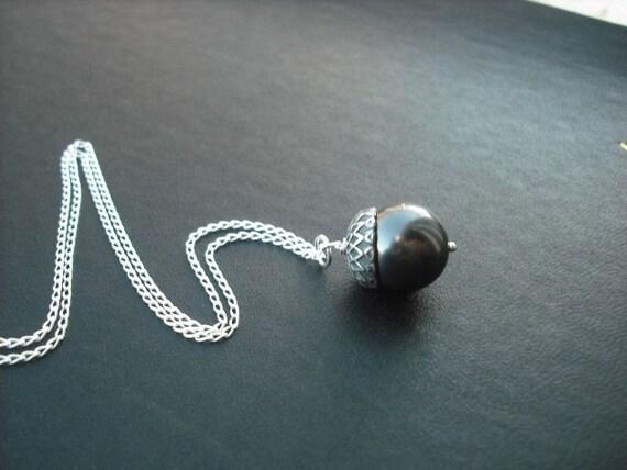 Silver Black Pearl Acorn Necklace, June Birthstone Necklace,  Pearl Necklace,  Bridesmaid Gift,  Wedding Gift,  Bridesmaid Necklace