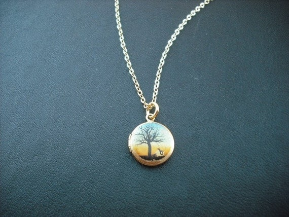 mini summertime tree locket necklace - 14K gold filled