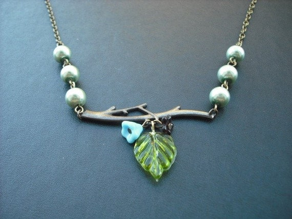 bare branch teal necklace