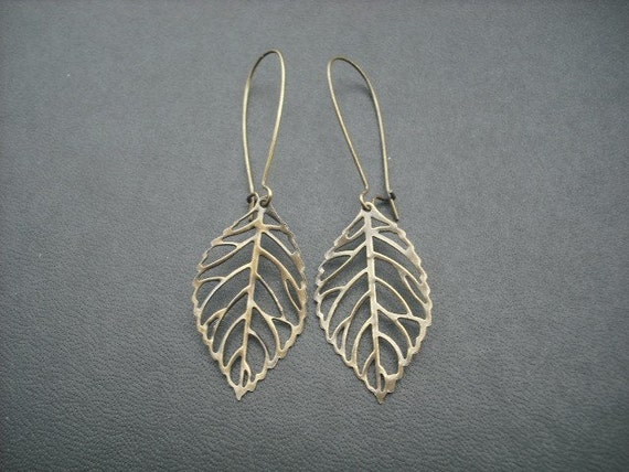 Bridesmaid Earrings, Skeleton Leaf Earrings - antique brass