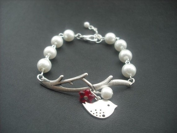 bare branch and mod bird bracelet - matte white gold and antique silver