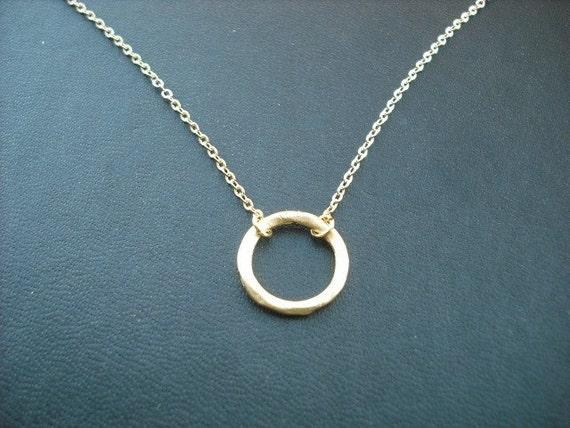 matte yellow gold hoop pendant necklace