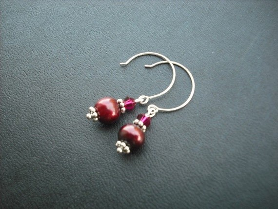 glam cranberry earring - sterling silver