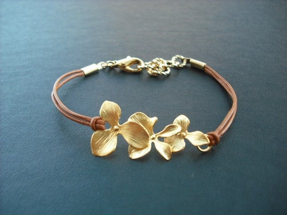 Bridesmaid Gift, Gold Bracelet with Orchid Flowers, Flower Girl Gift, Wedding Gift, Birthday Gift