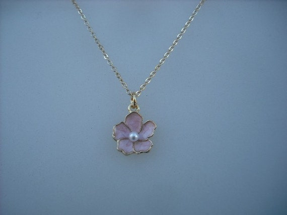 pink flower necklace - 16K gold plated chain