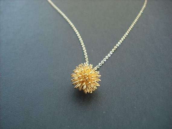 dandelion necklace - 16K yellow gold plated
