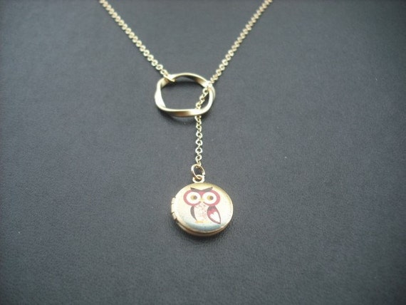 Gold Locket Lariat with Whimsical Owl Mini Locket and Twisted Gold Circle