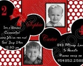 Red and White Polka Dots Twin Minnie Mickey Mouse Digital Birthday Photo Invitation