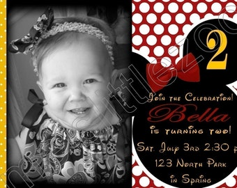 Minnie or Mickey Mouse Digital Birthday Photo Invitations