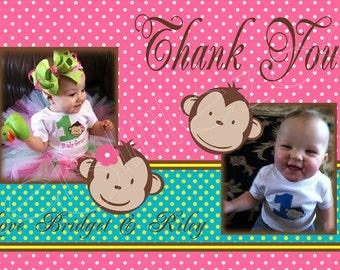 Twin Mod Monkey Digital Photo Thank You Card File