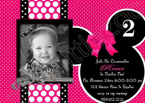 Hot Pink and Black Lots of Polka Dots Minnie or Mickey Mouse Digital Birthday Photo Invitations