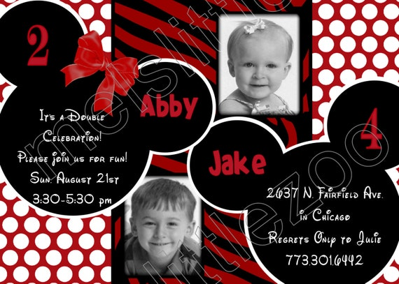 Red White Dots and Zebra Twin Minnie or Mickey Mouse Digital Birthday Photo Invitation