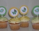Baby Shower Cupcake Toppers, Cupcake picks, green baby carriage, bird