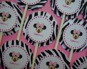 Cupcake Toppers - Minnie Mouse-inspired with zebra