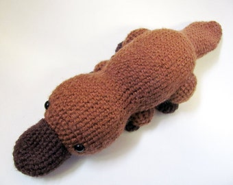 MADE to ORDER - Amigurumi Platypus - cute crochet amigurumi doll, brown crochet animal platypus, amigurumi toy, platypus softie
