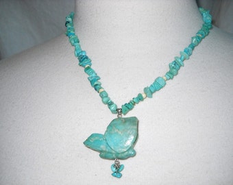 Time Raveler Butterfly Blue Turquoise Sterling Necklace
