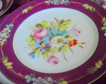 Set of 8 Antique Victorian Violet-red and White Handpainted Tea or Luncheon Plates, Time Raveler