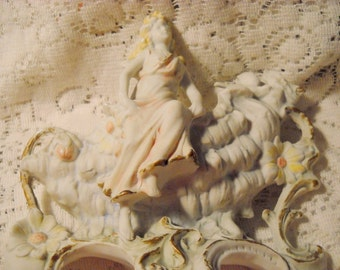 Antique Victorian Bisque Lady and Bird with Love Letter Vase, Time Raveler