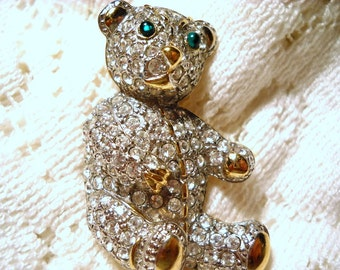 Vintage Carolee Pave Rhinestone Teddy Bear Pin Brooch, Time Raveler