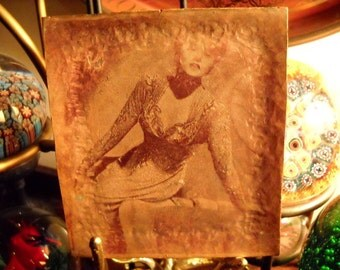 Vintage Copper Printing Plate Glamor Girl Coin Tray, Time Raveler