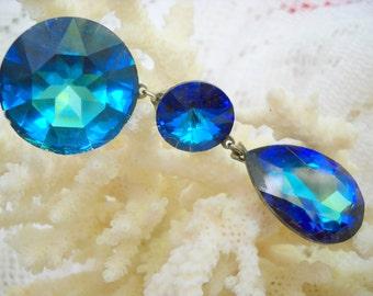 Enormous 80s Sea Blue Rhinestone Earrings, Time Raveler