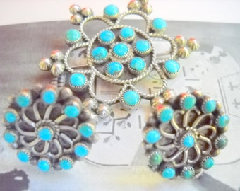 Sterling and Turquoise Zuni Petit Point Demi Parure Earrings and Brooch, Time Raveler