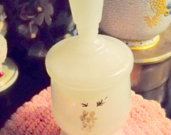 1880s Clambroth Bristol Glass Dresser or Barber Jar, Time Raveler