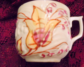 Victorian Tea or Coffee Cup with Fall Colors, Hand Painted