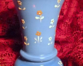 1930s Sky Blue Blown Glass Hand Painted Flowers Vase, Time Raveler