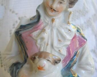 1800s Pink Luster Man with Dog Figurine, Time Raveler