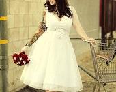 Tea Length Vintage Retro Inspired Wedding Gown