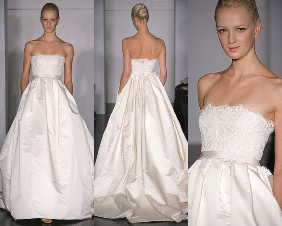 Strapless Satin and Lace A Line Wedding Gown