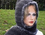 Hooded Scarf in Charcoal