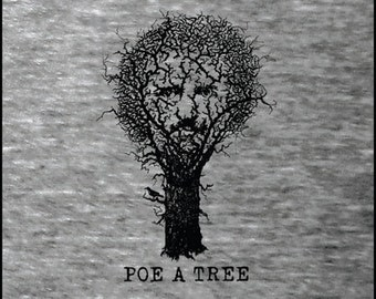 "Edgar Allan Poe ""Poe A Tree"" Literary Poet T-Shirt - Reader - Book Gift - NOVEL-T"