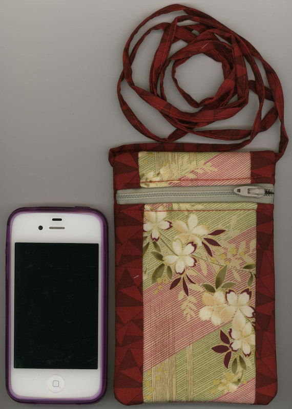 Cell Phone Bag - Quilted Cotton - Oriental Floral on Cranberry Red Fabric, Zippered - Fits iphone