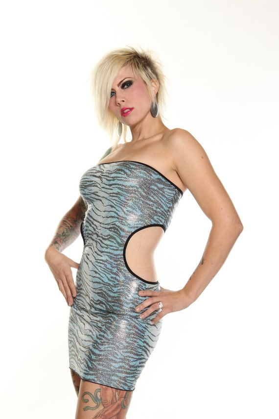 Shiny Blue Zebra Print Open Back Tube Dress