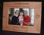 Personalized Engraved Godparents Godfather Godmother Baptism 4x6 Wood Keepsake Gift Frame