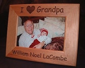 Personalized Engraved I Love Grandpa 4x6 Wood Frame