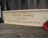 Personalized Engraved Wood Wine Box Wedding or Anniversary Hand Crafted Keepsake Groomsman Best Man Bridesmaid Maid of Honor Gift