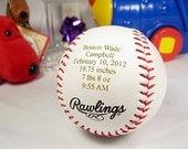 Personalized Engraved Baby Announcement Baseball Keepsake Gift Nursery Decor New Born