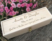 Engraved Wine Box with Padlock Personalized Wood Wedding or Anniversary Hand Crafted Keepsake Gift Groom Bride Love Letters